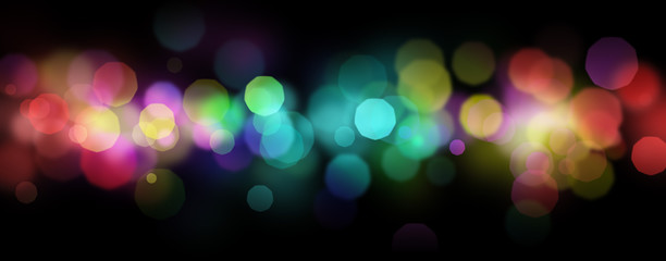 Rainbow colored shiny defocused abstract light bokeh background