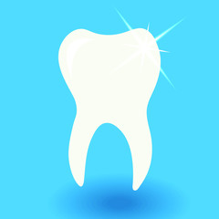 white tooth icon with shine on blue background with shadow vector illustration, dental care or dentist concept