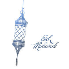 Illustration of Eid mubarak. Beautiful islamic and arabic lantern