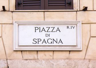 Street sign Piazza di Spagna in Rome, Italy