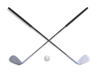 Golf clubs with ball 3d rendering