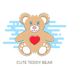Modern vector cute teddy bear