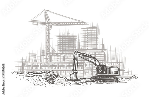 Excavator on construction site hand drawn illustration. Vector ...
