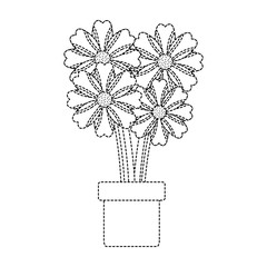 potted flower natural decoration floral icon vector illustration dotted line design