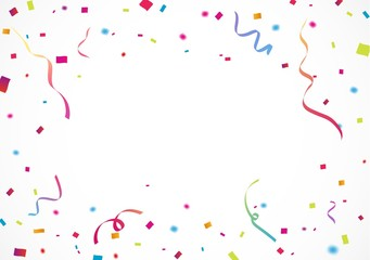 Colorful confetti, for celebration background with ribbon