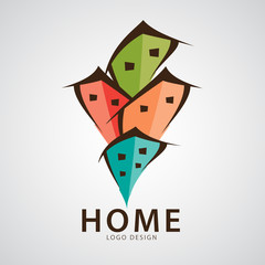 Home logo design vector illustration, web icon, Ecology sign, House Logotype, services Household, kid house, brand, Cartoon