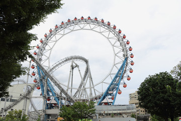TOKYO, JAPAN - October 02, 2017: Attractions in Tokyo Dome City. The Tokyo Dome City is a amusement park in city centre, Tokyo, Japan.