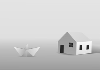 A paper boat saling close to a paper house. Vector illustration