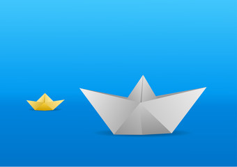 Two little paper boats, one white and one yellow, sailing over a blue background. Vector illustration