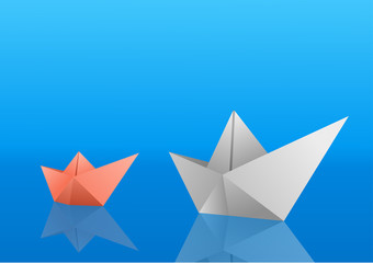Two paper boats saling over blue polished surface. Vector illustration