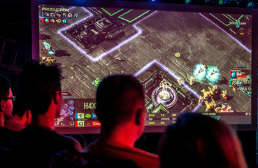 People watch the Intel Extreme Masters 2018 World Championships esports match of StarCraft II in Katowice