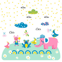 Cute animal friends cartoon vector style.