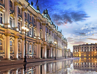The Winter Palace at dawn in St. Petersburg