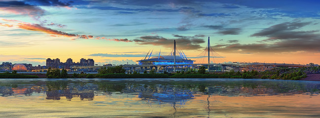 Spoed Fotobehang Stadion The stadium and the cable-stayed bridge in Saint-Petersburg