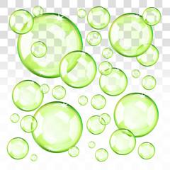Transparent green bubbles. Eps10 transparent vector