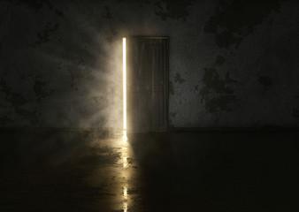 Mysteriöse Tür in dunklem Raum Wall mural