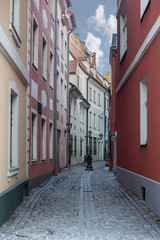 Wall Mural - Narrow medieval street in old Riga