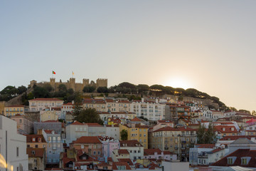 Skyline and sunset in Lisbon, Portugal.