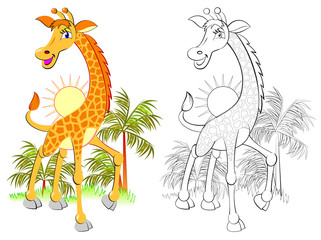 Colorful and black and white pattern for coloring. Illustration of cute little giraffe. Worksheet for children and adults. Vector image.