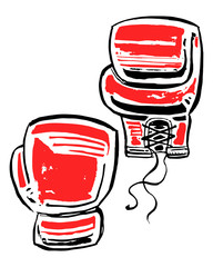 Pair of boxing gloves ink illustration