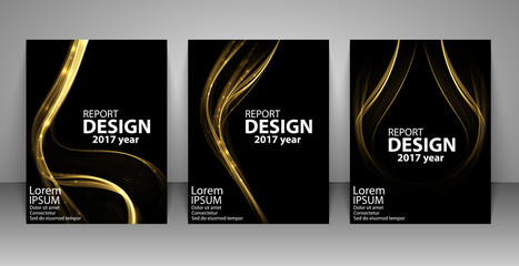 Brochure with futuristic gold light wave. Report, flyer, business layout, presentation template A4 size. Vector illustration.