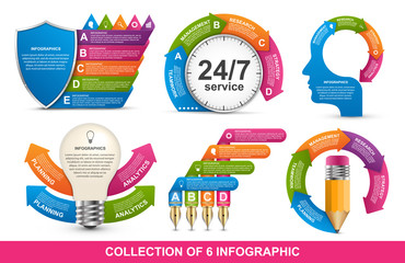 Collection of sixteen infographics. Design elements. Infographics for business presentations or information banner.