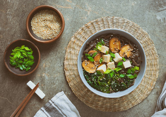 Soba noodle soup with tofu, kale and mushrooms