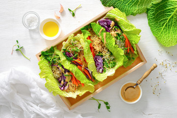 Vegan detox spring rolls with quinoa, sprouts and Thai peanut sauce