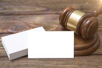 Mock up Business Card, Gavel Judge, Attorney. The court, the law.