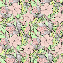 Seamless abstract floral pattern. Pink cute flowers, tropical leaves.