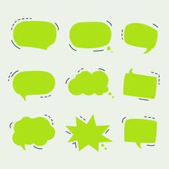 Blank empty colored speech bubbles