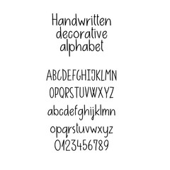Decorative alphabet. Handwritten font. Uppercase, lowercase, numbers. Hand lettering font for your design: logo, slogan, window decor, postcard, greeting card, invitation, poster, social media