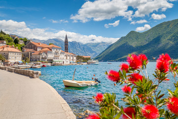 Poster Mediterraans Europa Historic town of Perast at Bay of Kotor in summer, Montenegro