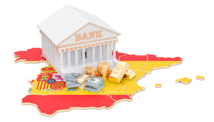 Banking system in Spain concept. 3D rendering