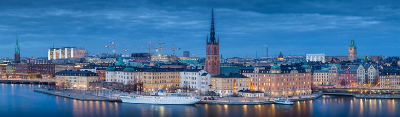 Stockholm skyline panorama in twilight, Sweden, Scandinavia