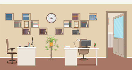 Office interior design with furniture and open door to the corridor. Business workspace organization.