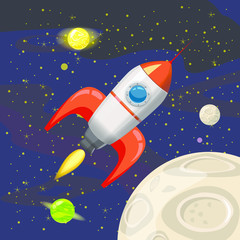 Space rocket launch, spaceship, space background, cartoon style, Vector illustration