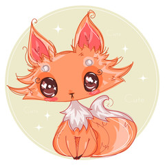 Cute little fox hand drawn style children illustration, cartoon character fox with big eyes and fluffy tail, anime vector illustration