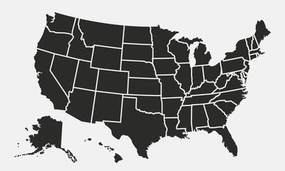 USA map with states isolated on a white background. United States of America map. Vector illustration Fototapete