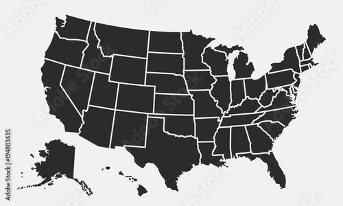 Wall mural USA map with states isolated on a white background. United States of America map. Vector illustration