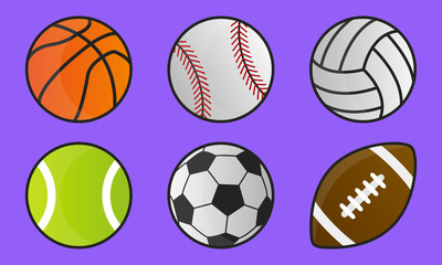Colorful sport balls isolated on purple background. Cartoon style. Sport icons. Vector illustration
