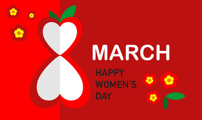 March, 8 The International Women's Day card. Background template. Vector illustration