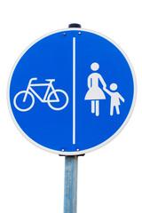 Radfahrer und Fußgänger getrennt Verkehrszeichen
