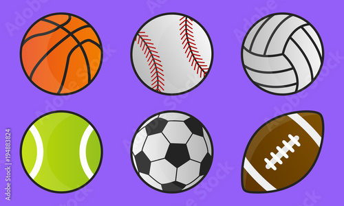 Colorful Sport Balls Isolated On Purple Background Cartoon Style Icons Vector Illustration