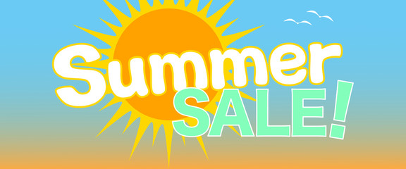 Summer Sale! Advertising Promotion Banner. Eye-Catching Customizable Vector Illustration.
