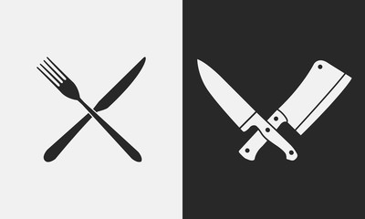 Restaurant knives icons. Silhouette of fork and knife, butcher knives. Logo, emblem