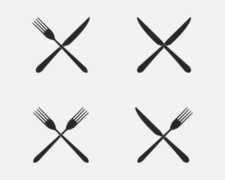 Set of restaurant icons. Fork and knife icons isolated on a white background