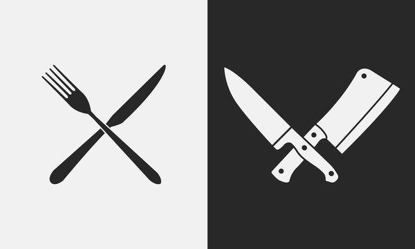 Restaurant knives icons. Silhouette of fork and knife, butcher knives. Logo, emblem