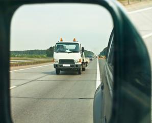 tow-car in mirror