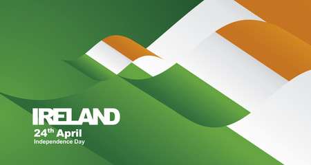 Independence Day Ireland flag ribbon landscape background greeting card